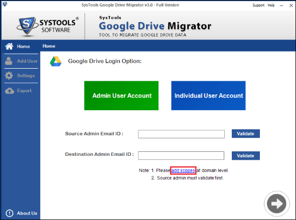Add scopes to migrate Google docs from one account to another
