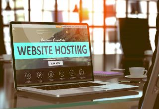 Website Hosting Concept on Laptop Screen.