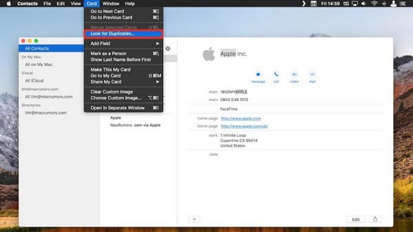Merging iPhone Duplicate Contacts on Mac