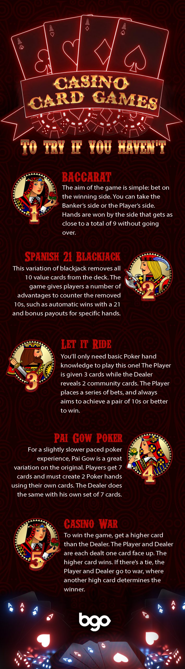 Casino Card Games to try if you havent infographic